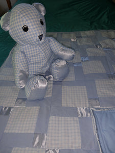 Blue Gingham Cotton and Satin  Baby Quilt with Matching Bear Set