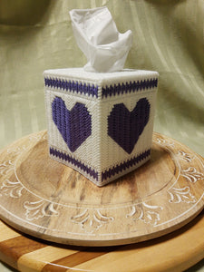 Purple Heart Cube Tissue Box Cover- By Touch Of Love Crafts
