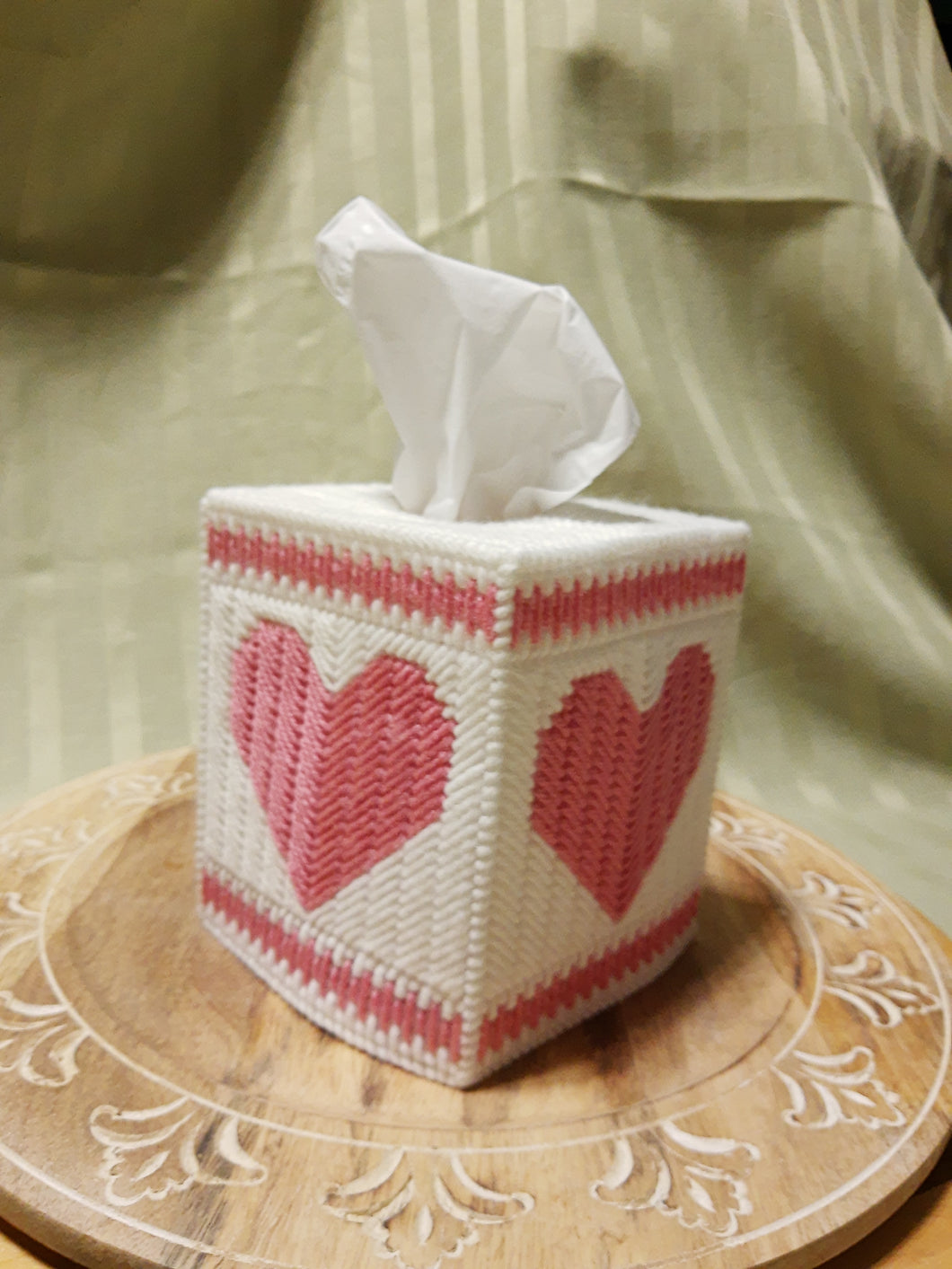 Pink Heart Cube Tissue Box Cover- By Touch Of Love Crafts