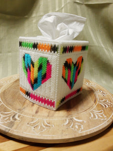 Rainbow Heart Cube Tissue Box Cover- By Touch Of Love Crafts