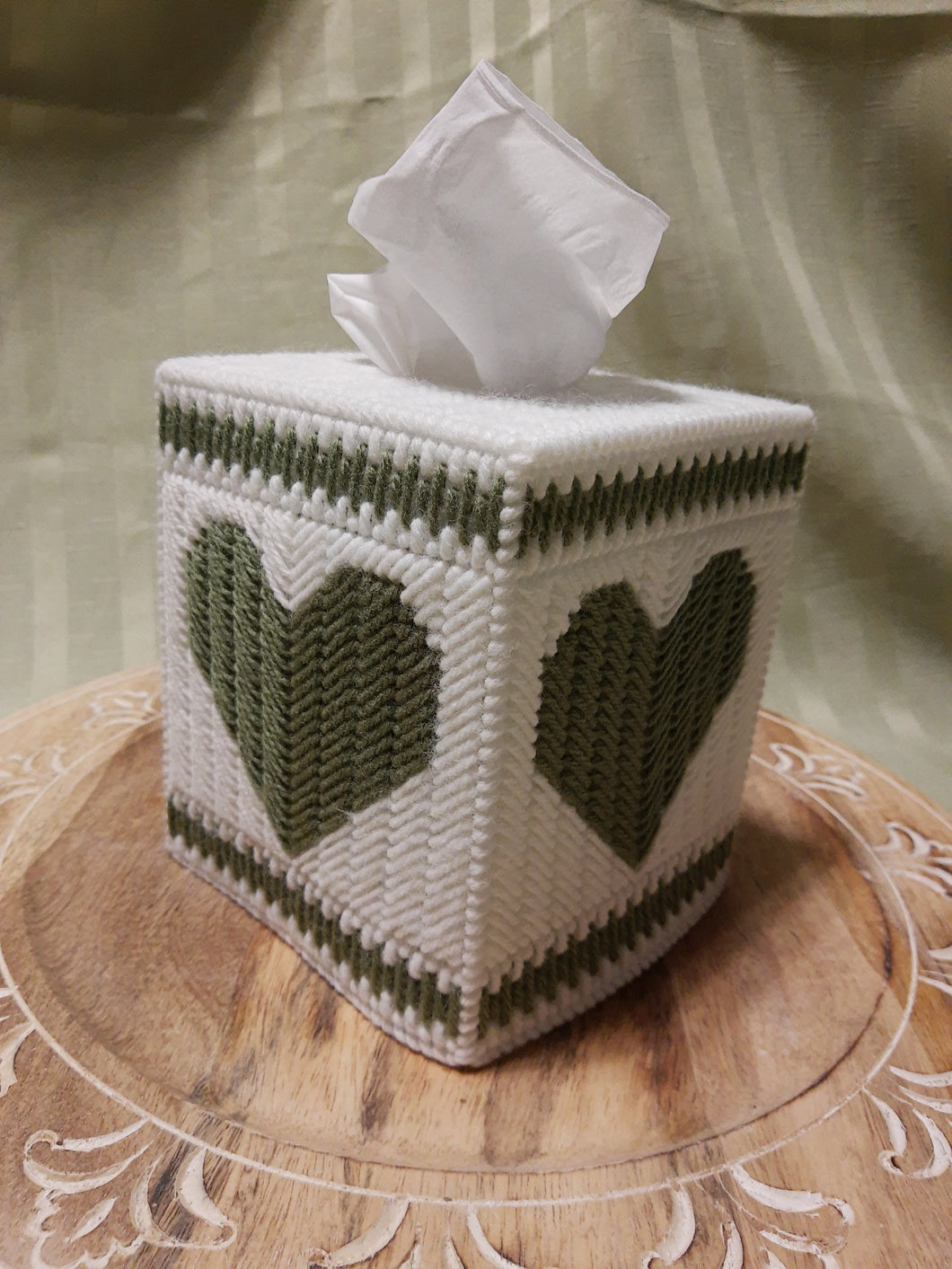 Sage Green Heart Cube Tissue Box Cover- By Touch Of Love Crafts