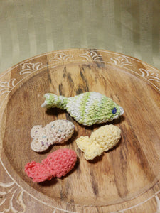 A Set Of 4 Handmade Catnip Fishes- Cotton and the finest Catnip