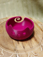 Load image into Gallery viewer, 3D Printed Cat Yarn Bowl- Magenta (4.5inWx3inD)-Plastic