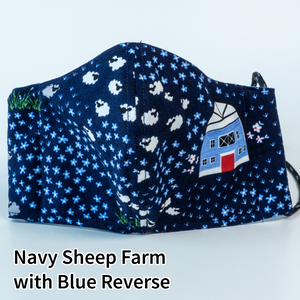 Navy Sheep Farm with Blue Reverse - Adult Size