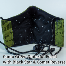 Load image into Gallery viewer, Camo Green Dinosaur Fossil with Black Stars and Comets Reverse - Adult Size