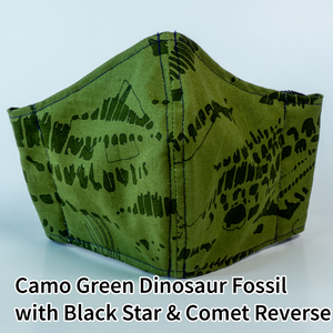 Camo Green Dinosaur Fossil with Black Stars and Comets Reverse - Adult Size