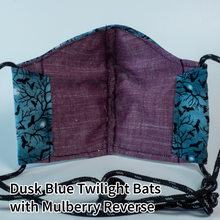 Load image into Gallery viewer, Dusk Blue Twilight Bats with Mulberry Reverse - Adult Size