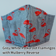 Load image into Gallery viewer, Grey with White Polka Dots & Flamingos with Mulberry Reverse - Adult Size