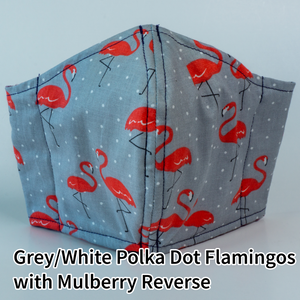 Grey with White Polka Dots & Flamingos with Mulberry Reverse - Adult Size