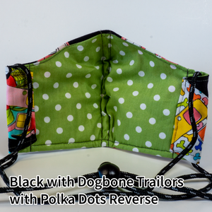 Black with Dogbone Trailers with Lime and Polka Dots Reverse - Adult Size