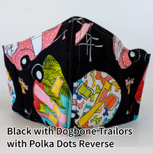 Load image into Gallery viewer, Black with Dogbone Trailers with Lime and Polka Dots Reverse - Adult Size