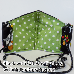 Black with Cat Paw Trailers with Lime and Polka Dots Reverse - Adult Size