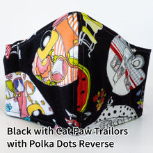 Load image into Gallery viewer, Black with Cat Paw Trailers with Lime and Polka Dots Reverse - Adult Size