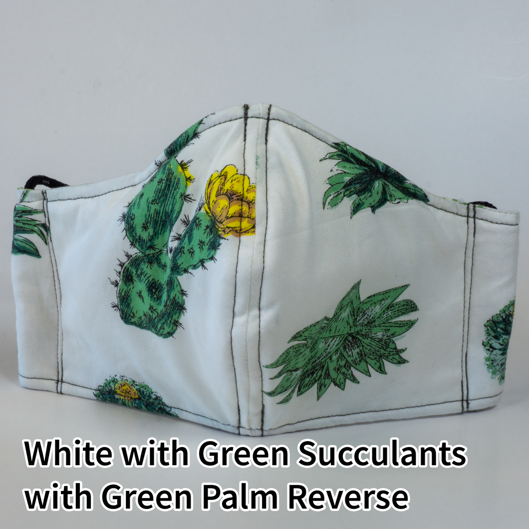 White with Green Succulants with White and Green Palms Reverse - Adult Size