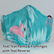 Load image into Gallery viewer, Teal/Teal Palms and Flamingos with Teal Reverse - Adult Size
