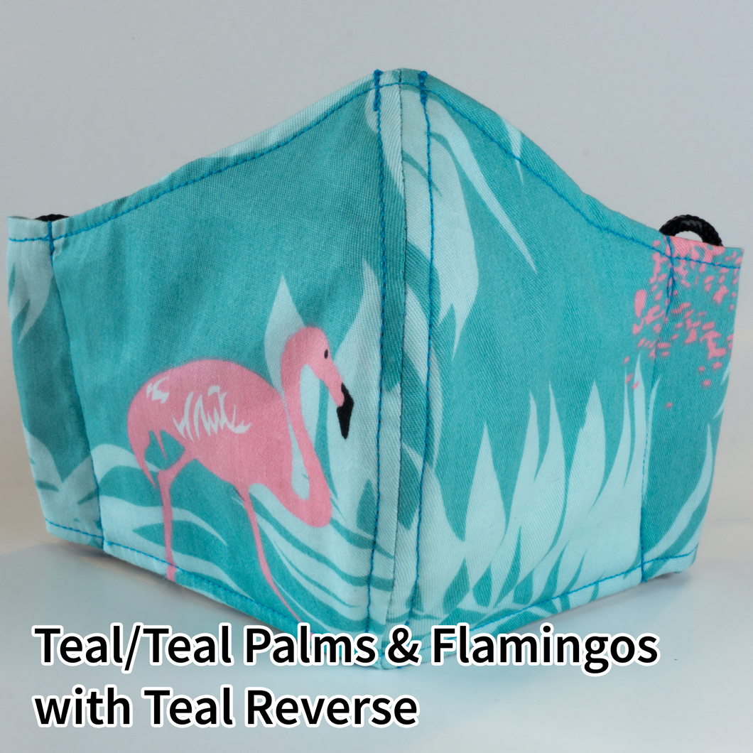 Teal/Teal Palms and Flamingos with Teal Reverse - Adult Size