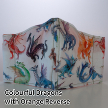 Load image into Gallery viewer, Colourful Dragons with Orange Reverse - Kid Size