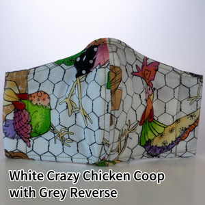 White Crazy Chicken Coop with Grey Reverse - Kid Size