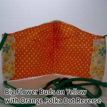 Load image into Gallery viewer, Big Flower Buds on Yellow with Orange Polka Dots Reverse - Kid Size
