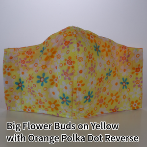 Big Flower Buds on Yellow with Orange Polka Dots Reverse - Kid Size