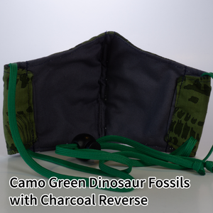 Camo Green Dinosaur Fossils with Charcoal Reverse - Kid Size