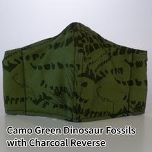 Load image into Gallery viewer, Camo Green Dinosaur Fossils with Charcoal Reverse - Kid Size