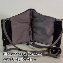 Load image into Gallery viewer, Black Stars and Comets with Grey Reverse - Kid Size