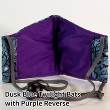 Load image into Gallery viewer, Dusk Blue Twilight Bats with Purple Reverse - Kid Size