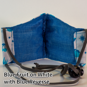 Blue Fruit on White with Blue Reverse - Kid Size