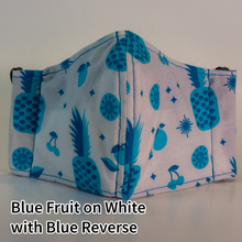 Load image into Gallery viewer, Blue Fruit on White with Blue Reverse - Kid Size