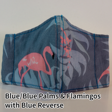 Load image into Gallery viewer, Blue on Blue Palms & Flamingos with Blue Reverse - Kid Size