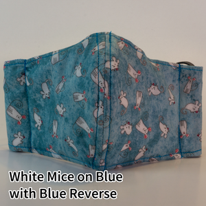 White Mice on Blue with Blue Reverse - Kid Size