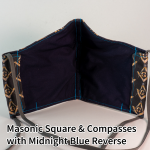 Masonic Square and Compasses with Midnight Blue Reverse - Mountain Man Mask
