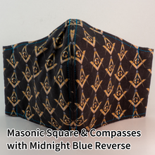 Load image into Gallery viewer, Masonic Square and Compasses with Midnight Blue Reverse - Mountain Man Mask