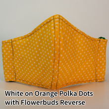 Load image into Gallery viewer, White on Orange Polka Dots with Flowerbuds Reverse - Tween/Adult Small Size