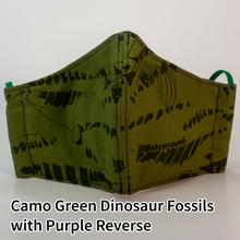 Load image into Gallery viewer, Camo Green Dinosaur Fossils with Purple Reverse - Tween/Adult Small Size