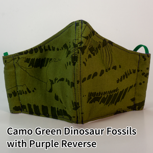 Camo Green Dinosaur Fossils with Purple Reverse - Tween/Adult Small Size