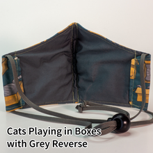 Load image into Gallery viewer, Cats Playing in Boxes with Grey Reverse - Tween/Adult Small Size