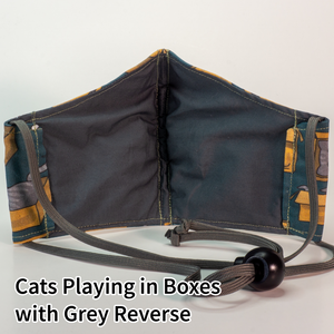 Cats Playing in Boxes with Grey Reverse - Tween/Adult Small Size