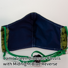 Load image into Gallery viewer, Camo Green Dinosaur Fossils with Midnight Blue Reverse - Tween/Adult Small Size