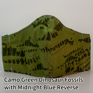 Camo Green Dinosaur Fossils with Midnight Blue Reverse - Tween/Adult Small Size