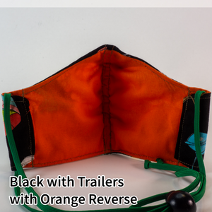 Black with Trailers with Orange Reverse - Tween/Adult Small Size