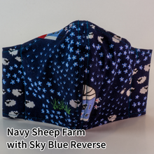 Load image into Gallery viewer, Navy Sheep Farm with Sky Blue Reverse - Tween/Adult Small Size
