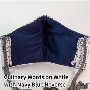 Culinary Words on White with Navy Blue Reverse - Tween/Adult Small Size
