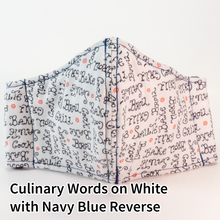 Load image into Gallery viewer, Culinary Words on White with Navy Blue Reverse - Tween/Adult Small Size