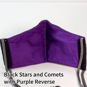 Black Stars and Comets with Purple Reverse - Tween/Adult Small Size