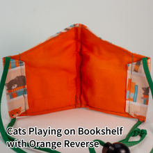 Load image into Gallery viewer, Cats Playing on Bookshelf with Orange Reverse - Tween/Adult Small Size