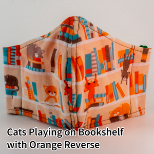 Cats Playing on Bookshelf with Orange Reverse - Tween/Adult Small Size