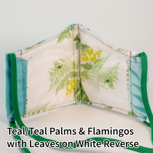 Teal/Teal Palms and Flamingos with Leaves on White Reverse - Wee Size