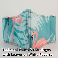 Load image into Gallery viewer, Teal/Teal Palms and Flamingos with Leaves on White Reverse - Wee Size
